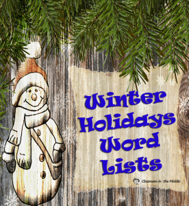 Winter Holidays Word Lists pin