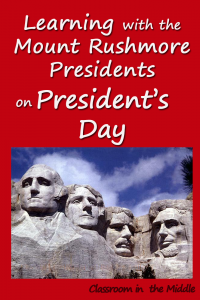 Learning with the Mount Rushmore Presidents on Presidents' Day pin