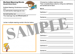 Multiple Meaning Words Note Sheet - SAMPLE copy