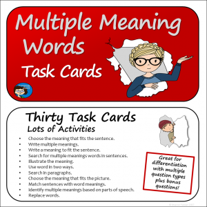 Multiple Meaning Words Task Cards sq