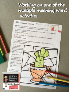 Multiple Meaning Word Activity Sheets