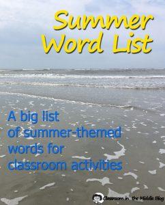 Summer Word List pin