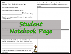 Student Notebook Page Compare and Contrast