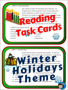 Winter Holidays Task Cards Sample