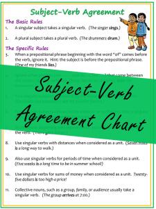 Subject-Verb Agreement Chart