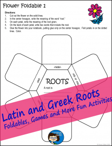 Latin and Greek Roots flower foldable.