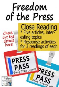 Freedom of the Press close reading