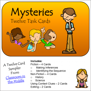 Mysteries reading task cards