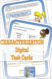 Characterization Digital Task Cards sample