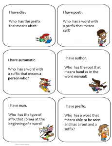 Prefixes, Suffixes, and Roots Free card game